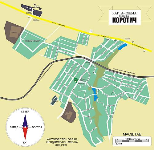 Карта поселка Коротич подробная
